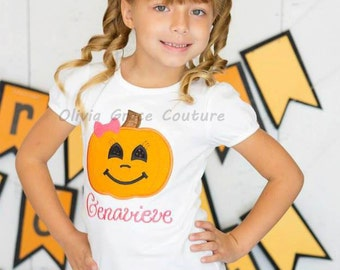 Girls Halloween Pumpkin Shirt, Girls Jack-o-latern shirt Embroidered Applique Shirt or Bodysuit