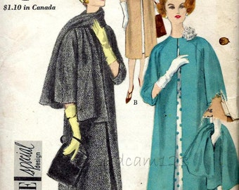 Vintage 1959 Raglan Sleeve Coat and Stole Pattern Collarless Sleeve Variations 1950s Vogue 4001 Bust 34 UNCUT