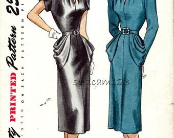 Vintage Rare Pattern 1947 V Neck Dress Triple Pleated Pockets Tulip Short Sleeves 1940s Simplicity 2094 Bust 36 UNCUT