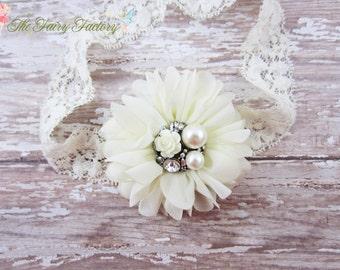 Ivory Flower Headband, Chiffon Flower Lace Headband or Hair Clip, Baptism, Christening, Baby Headband, Newborn Infant Child Girls Headband