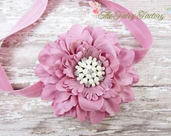 Mauve Pink Flower Headband - Mauve Flower w/ Pearl & Crystal Center Headband or Hair Clip - The Eva - Baby Toddler Child Girls Headband