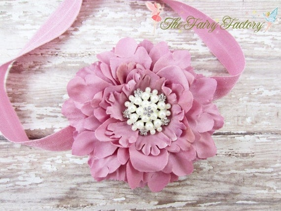 Mauve Pink Flower Headband - Mauve Flower w/ Pearl & Crystal Center Headband or Hair Clip - The Eva - Baby Toddler Child Girls Headband