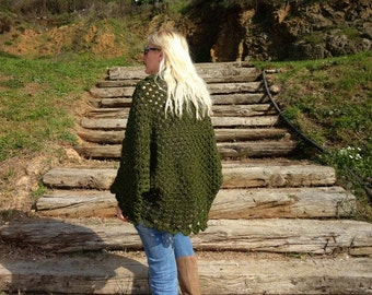 Afghan Crochet Cardigan- Green Cardigan- Womens Oversized Cardigan- Plus Size Cardigan- Big Cardigan- Loose Cardigans- Oversized Cardigan