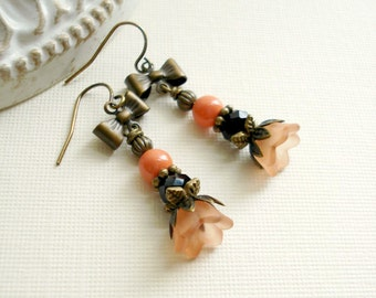 Orange Flower Drop Earrings With Bow Coral Beaded Earrings Orange Black Earrings Vintage Style Earrings In Antiqued Brass Halloween Earrings
