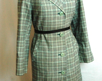 Fall Tweed Coat Vintage 1960's Made in England Plaid Wool Coat
