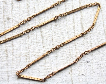 50 feet Vintage 1960s Chain // Rose Gold Color Brass Chain / Thin Woven Bar with Links
