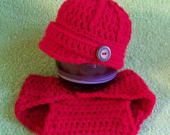 Boy Valentine Outfit - Crochet Valentine's Beanie - Boy Valentine Outfit - My First Valentine's - Valentine Day Baby Outfit