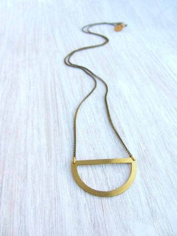 Minimalist  half circle necklace, gold geometric jewelry