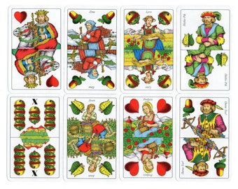 Vintage William Tell Deck of 32 Playing Cards Belote French Trick Taking Card Game Four Seasons Cards Collector Item Fortune Telling Collage