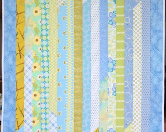 Baby Blanket Quilt, Blue, Green, Gold, Crib Blanket, Toddler Bedding.