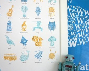 Alphabet Poster for Kids Nursery Room Decor Personalized Name Typographic Modern Art Letter Print Boy Baby Shower Gift Blue Alphabet Chart