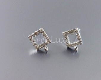 2 tiny square CZ / Cubic Zirconia stud earrings, earrings, jewelry supplies, bridal earrings E962-BR (bright silver, earrings, 2 pieces)