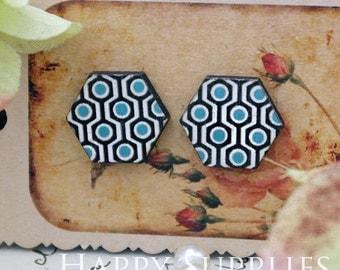 40% off - 8Pcs (CE025) Hexagon Handmade Photo Wood Cut Cabochon (Back Black)