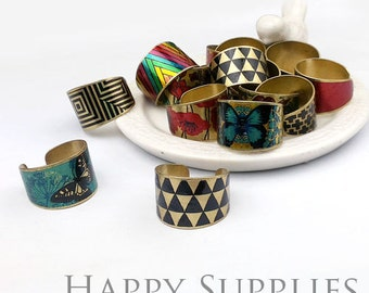 Last - Imperfect Discounted - 14pcs Handmade Photo Brass Ring (PR00B) - Clearance Sale 次品