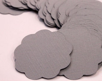 50 Scallop Tags Gray Textured Gift Tag 2 inch READY TO SHIP Scrapbooking Journaling Spots Topper Supply Thank you Card Stock Die Cuts Label