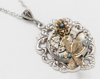 Steampunk Necklace with Vintage Pocket Watch on Silver Filgree Heart Pendant Featuring a Gold Dragonfly, Flower & Blue Crystal Jewelry Gift