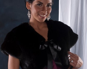 Faux Fur Bolero shrug winter wedding formal jacket Style A Available in different textures and colors of faux fur