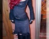 Under Bust Vest - Steampunk Vest - Burning Man - Dark Grey Vest - Festival Clothing - Bohemian Vest - Gypsy Fairy - Size Medium