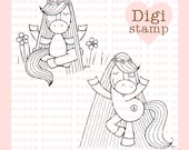 Hippie Horses Digital Stamp Set for Card Making, Paper Crafts, Scrapbooking, Invitations, Stickers, Coloring Pages