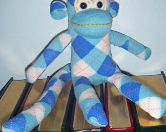 Light Blue Argyle Sock Monkey