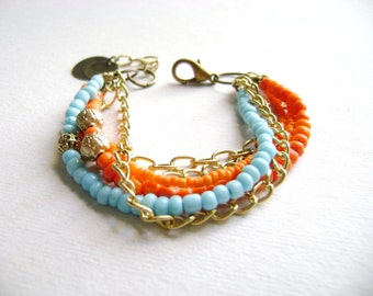 Bohemian style stacking bracelet colorful orange turquoise bohemian stacking bracelet multiple gold chain stack hippie chic