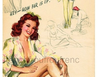 antique pinup illustration how far is up DIGITAL DOWNLOAD