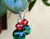 Christmas Glitter Earrings - Vintage Emerald Lampwork Glass Beads & Crimson Crystals w Argentium Silver Ear Wires /