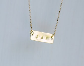 Personalized bar necklace - uppercase or lowercase letter - brass rectangle - name word - personalized jewelry - customized gift - Gillian