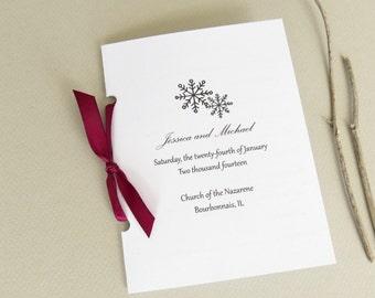 Snowflake Winter Wedding Ceremony Program with Ribbon