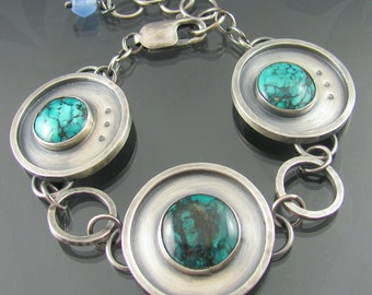 apocalyptic turquoise sterling silver bracelet - turquoise bracelet - chunky bracelet - futuristic bracelet - gemstone bracelet