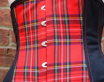 Punk Goth Visual Kei Under Bust Corset Red Plaid Black Bottom Weight Red Top Stitching