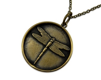 Bronze Dragonfly Pendant Necklace Dragonfly Charm Jewelry