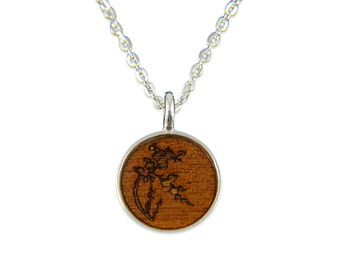 Cherry Blossom Wood Pendant Necklace - Silver Cherry Blossom and Dark Wood Necklace - Gwen Delicious Jewelry Designs 2068