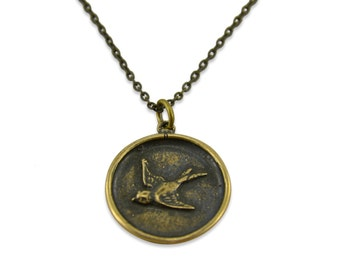 Sparrow Bird Pendant, Wax Seal Bird Necklace  Gwen Delicious Jewelry Designs