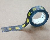 Japanese Washi Paper Masking Tape, mt for kids, Moon Star Space Tape, Adhesive Tape, Kawaii Card Decoration, Planner Deco, Black Yellow Tape