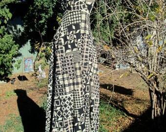 Vintage 70s Retro Maxi Dress Psychedelic Print Dress Mod Dress S M