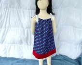 IN STOCK Red, White and Blue, 4th Of July Star Print Pillowcase Dress In Size 4T - 5T