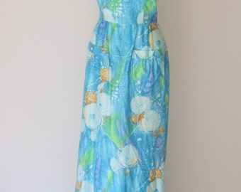 Vintage 1960s Blue Abstract Maxi Halter Dress