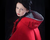 Red Riding Hood Costume with Wolf, Red Riding Hood Cape for Girls, Into the Woods Costume, Girls red Cape Halloween Costume Red Black Grey