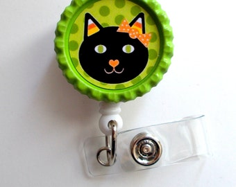 Candy Corn Cat - Name Badge Holder - Labor and Delivery Badge Reel  - Nursing Badge - Teacher  Badge - Nurses Badge - Halloween Badge