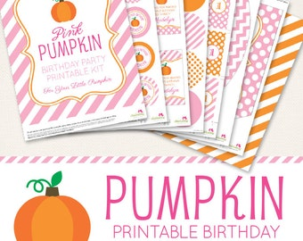 Pink Pumpkin Birthday Party printable decor kit - Over 45 pages of cute designs!