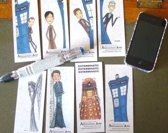 8 Doctor Who Bookmarks - Nine Ten Eleven Twelve TARDIS Captain Jack Dalek Weeping Angel Don't Blink