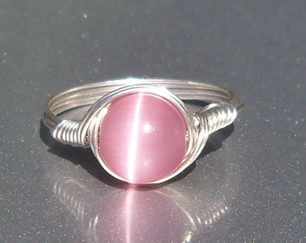 Lg Pink Cat's Eye Argentium Sterling Silver Wire Wrapped Ring