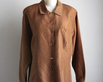 Silk Button Down Shirt - Brown Silk Collared Blouse