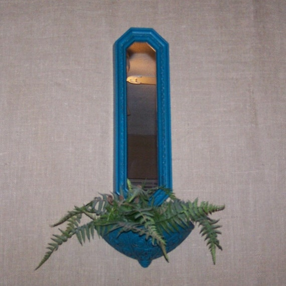 Vintage Teal Wall Decor : Items similar to vintage teal turquoise wall pocket and