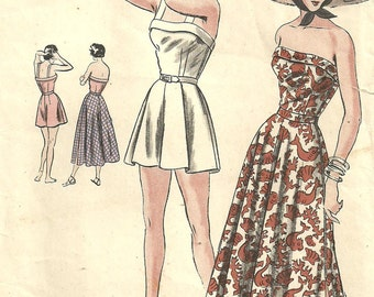 Vintage 40s Sewing Pattern / Vogue 6358 / Sundress Playsuit Romper / Size 16 Bust 34