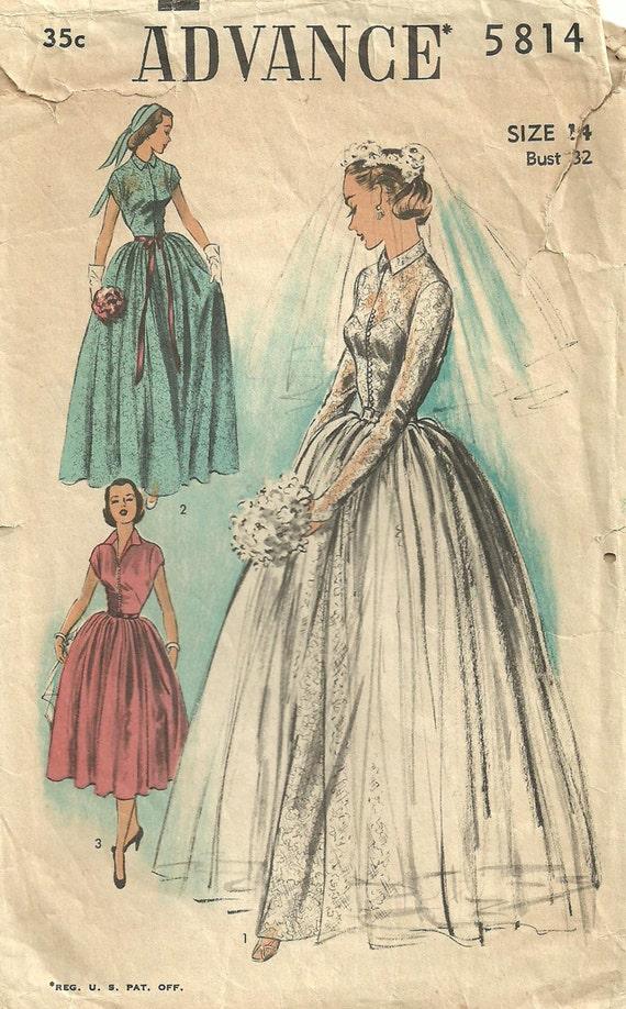 Advance 5814 vintage 50s bridal sewing pattern wedding dress for Vintage wedding dress patterns free