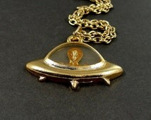 UFO Spaceship Alien Necklace, Gold Plated Alien Spaceship UFO Charm on a Gold Cable Chain