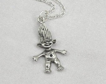 Troll Necklace, Silver Troll Necklace on a Silver Cable Chain