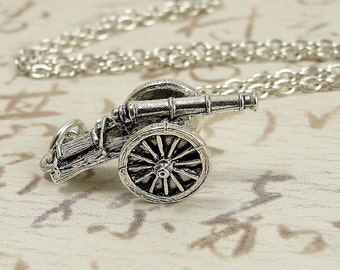 Military Cannon Necklace, Silver Cannon Charm on a Silver Cable Chain
